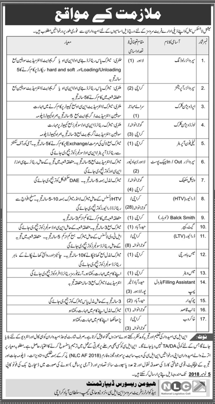 NLC National Logistics Cell Latest Jobs 2018