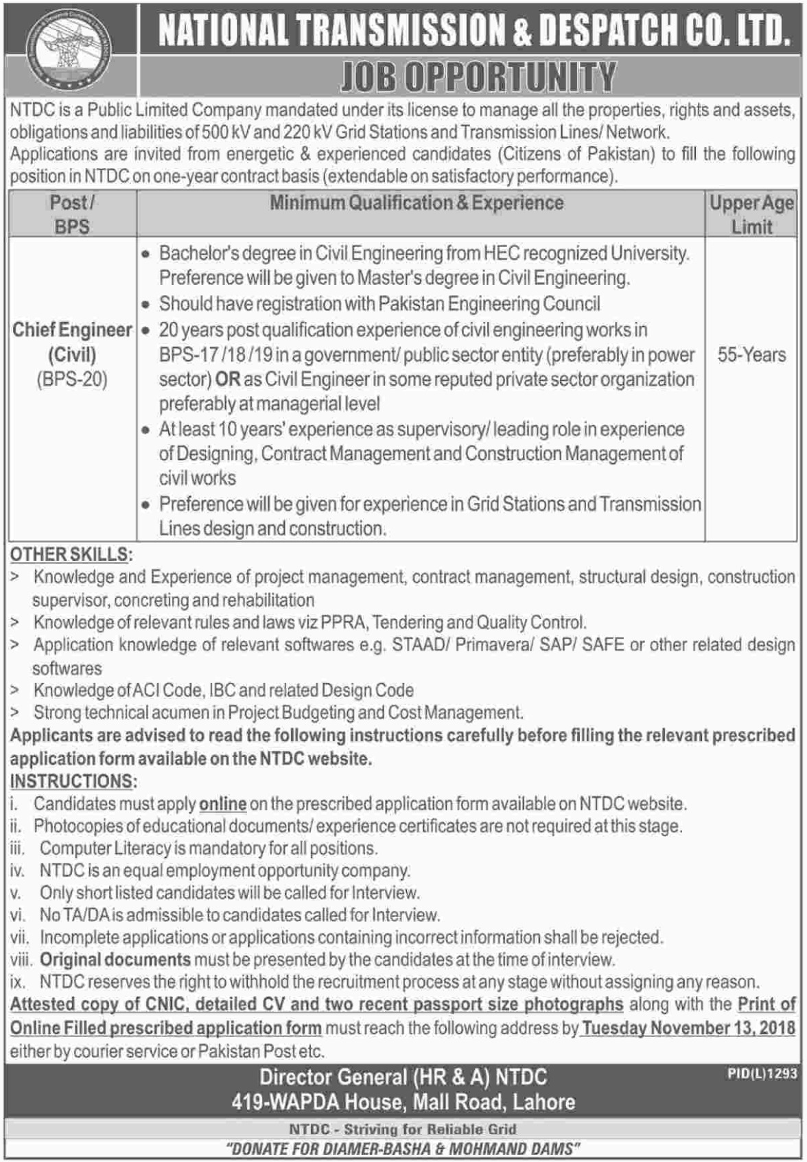 NTDC WAPDA Jobs Latest 2018