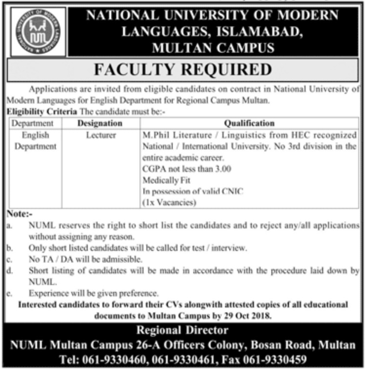 NUML Multan Campus Latest Jobs 2018
