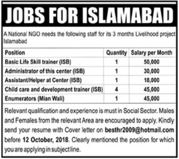 National NGO Islamabad Jobs 10 October 2018