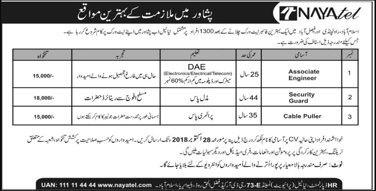 Nayatel Peshawar Latest Jobs 2018