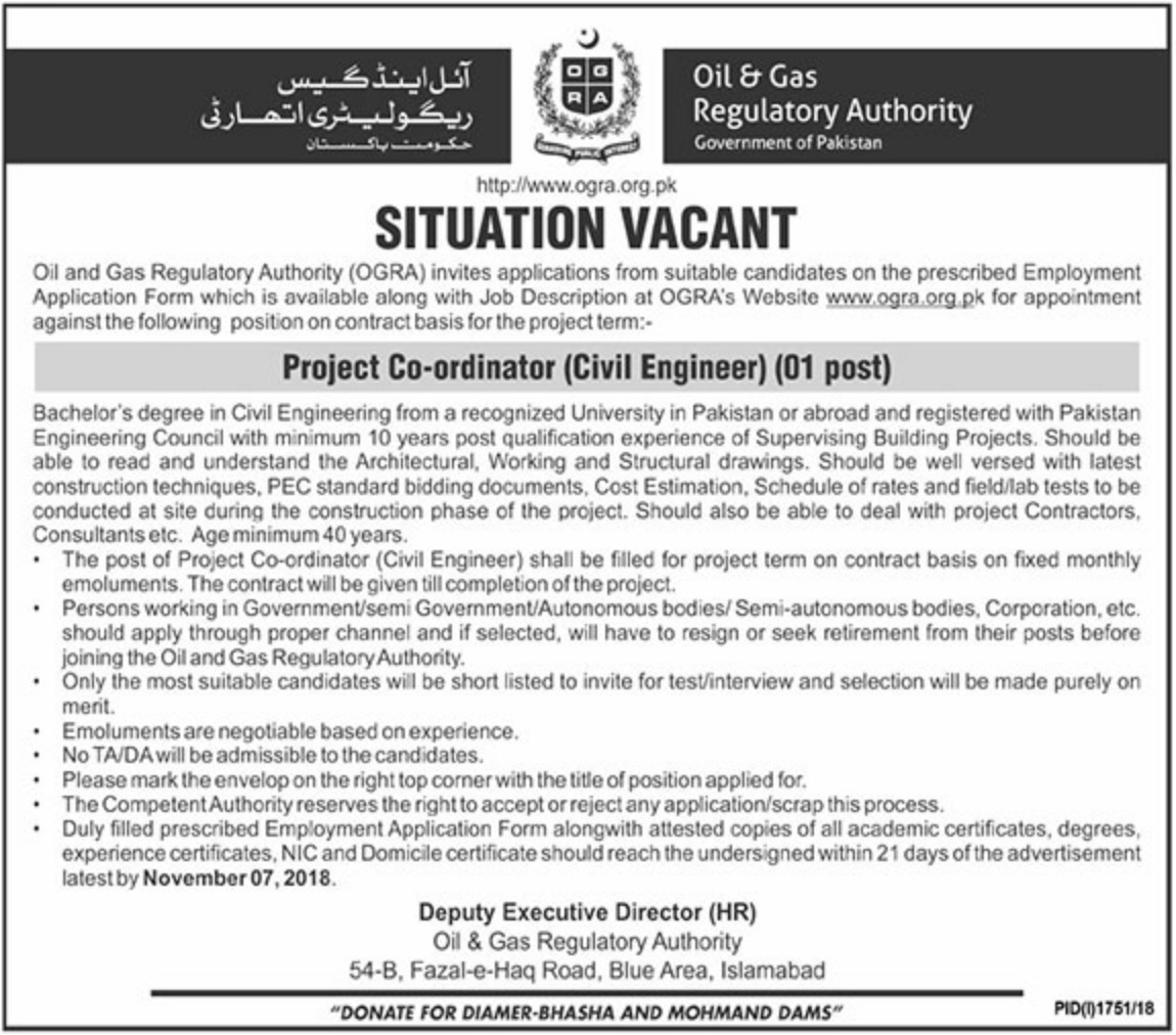 OGRA Oil & Gas Regulatory Authority Latest Jobs 2018