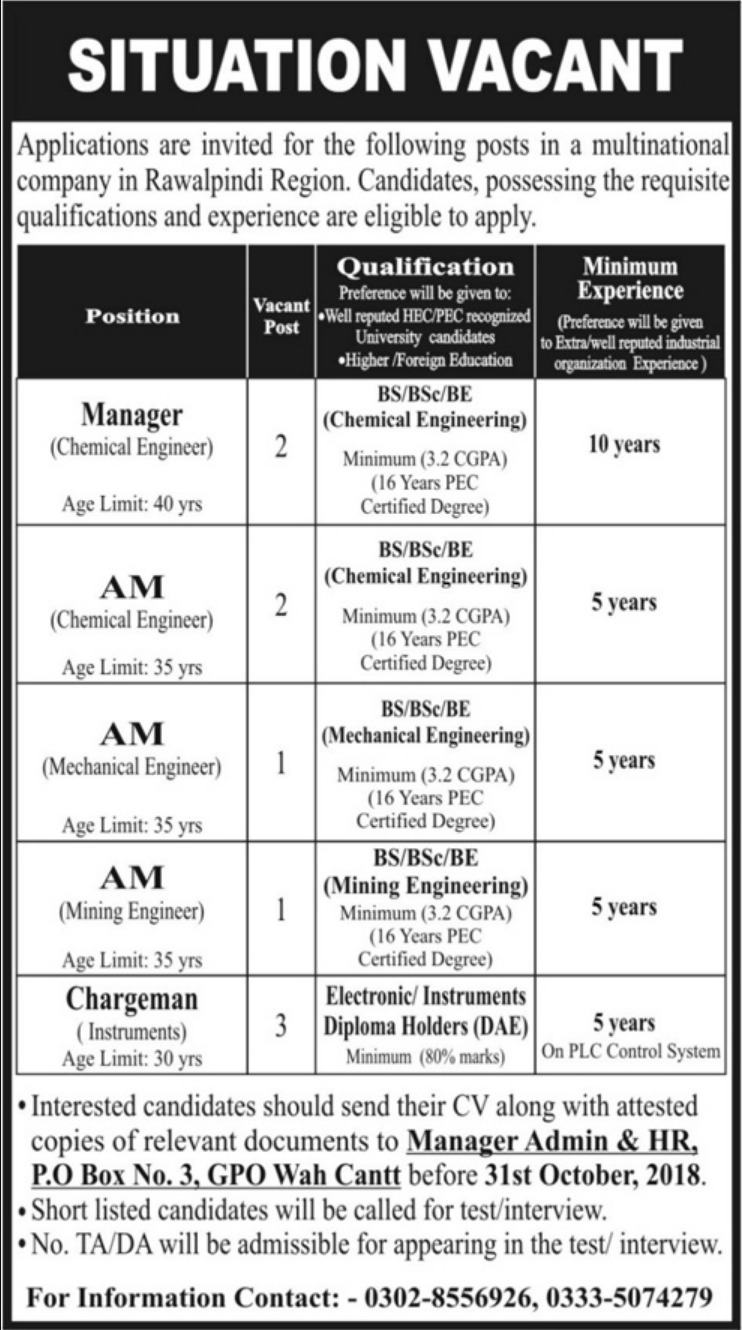 P.O.Box 3 GPO Wah Cantt Latest Jobs 2018