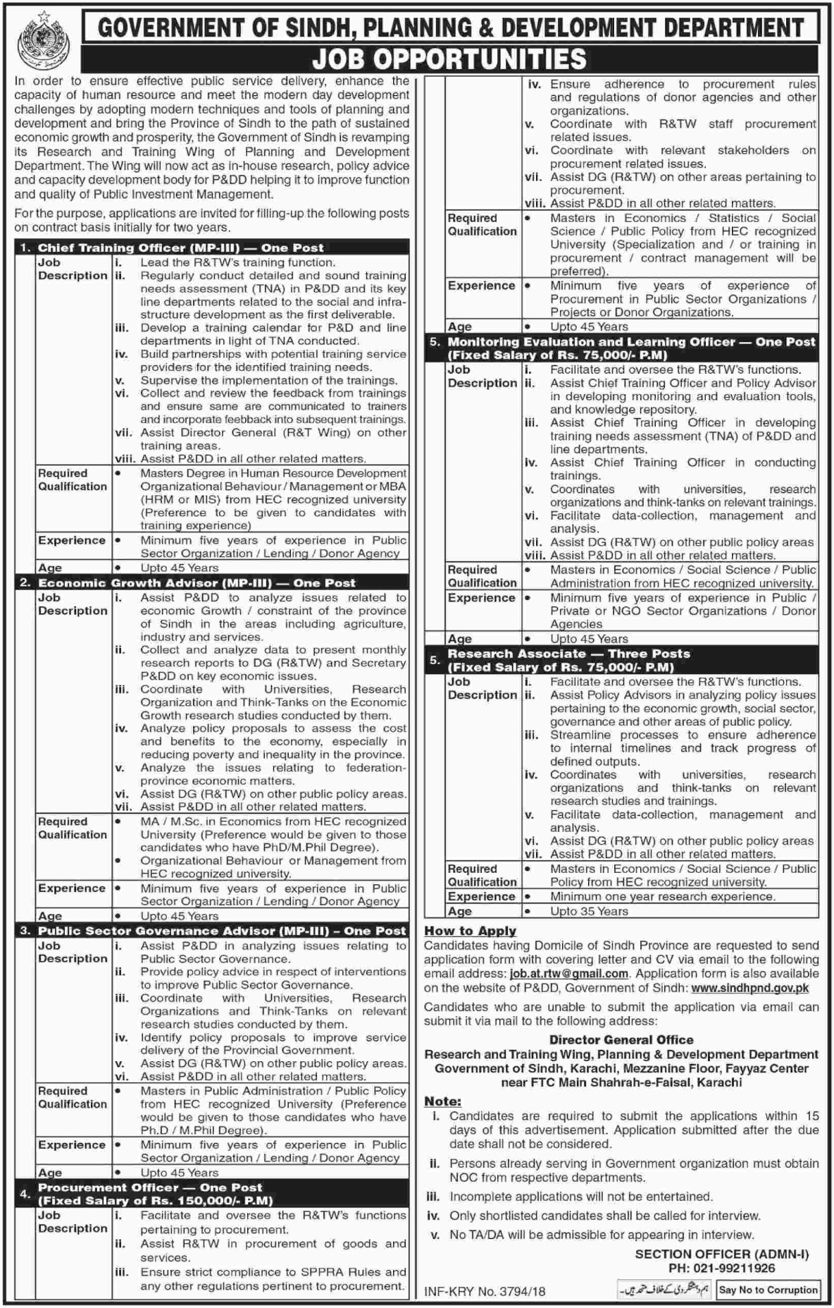 P&D Department Govt of Sindh Jobs 25 October 2018