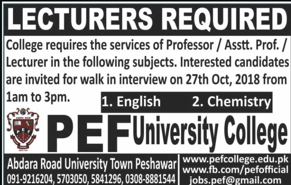 PEF University College Peshawar Jobs Latest 2018