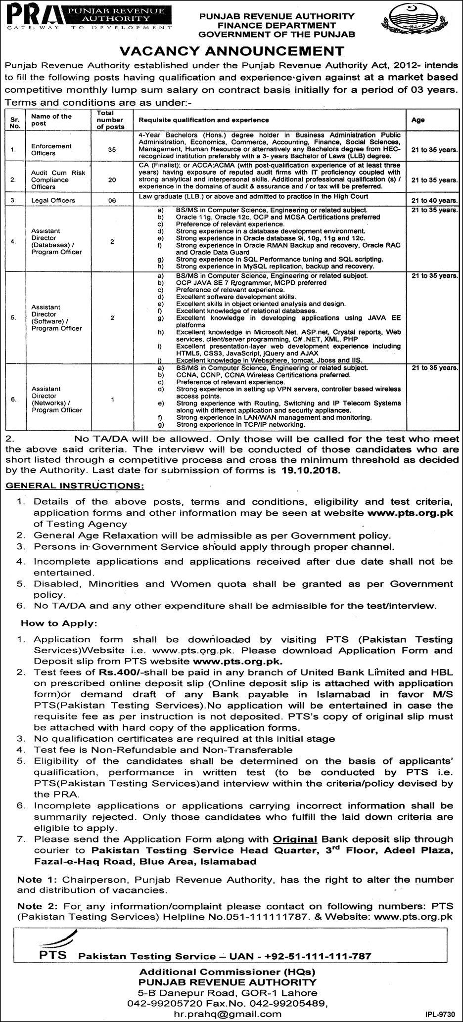 PRA Punjab Revenue Authority Finance Department Jobs 2018