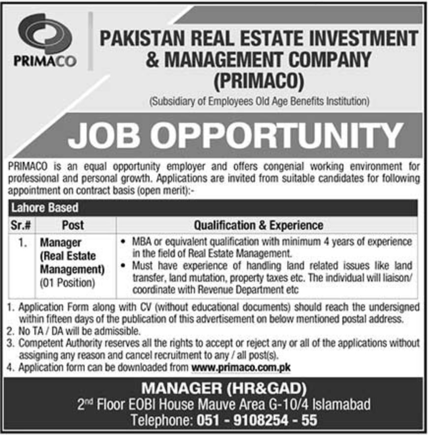 PRIMACO Islamabad Latest Jobs 9 October 2018