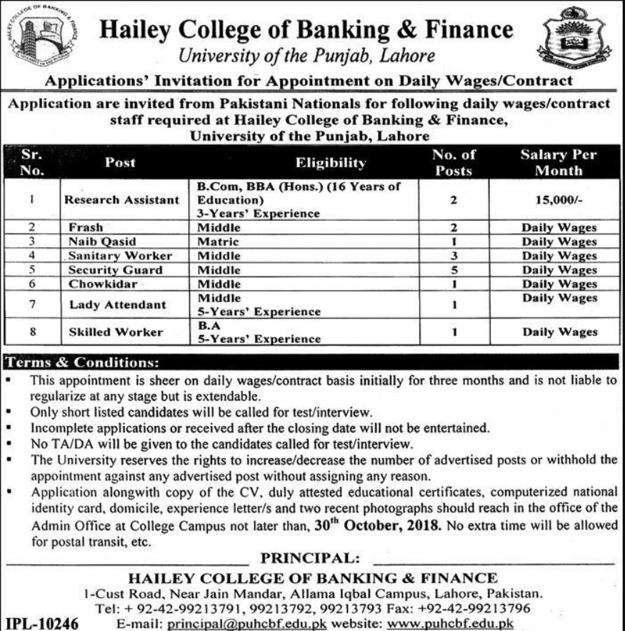 PU Hailey College of Banking & Finance Latest Jobs 2018