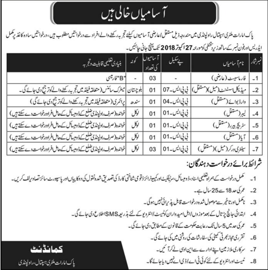 Pak Emirates Military Hospital Rawalpindi Jobs 2018