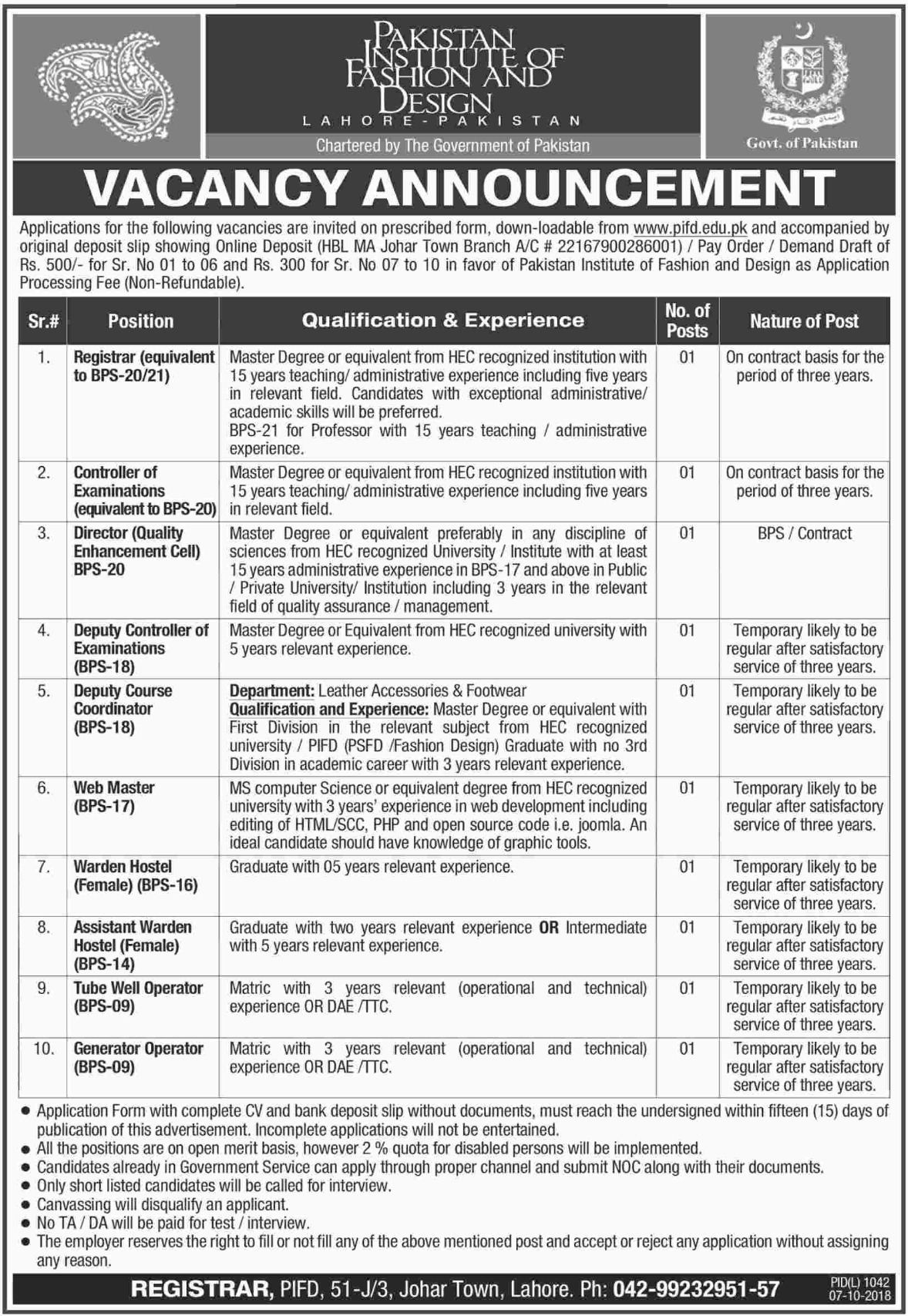 Pakistan Institute Of Fashion Design Pifd Jobs 2018 Paperpk Jobs