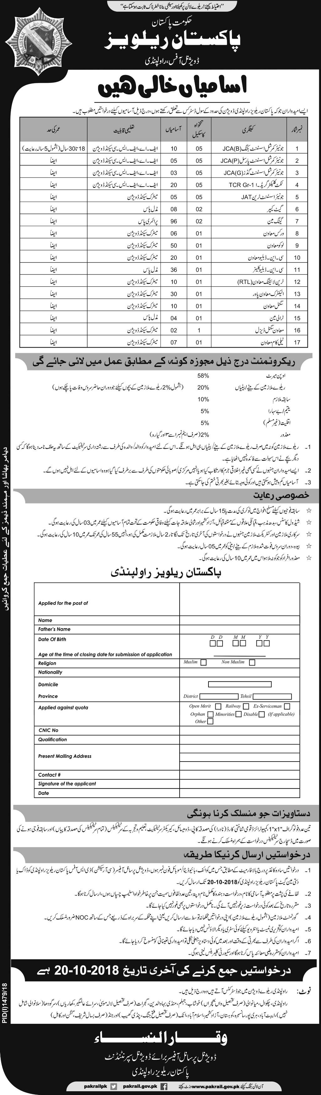 Pakistan Railways Divisional Office Rawalpindi Jobs 2018