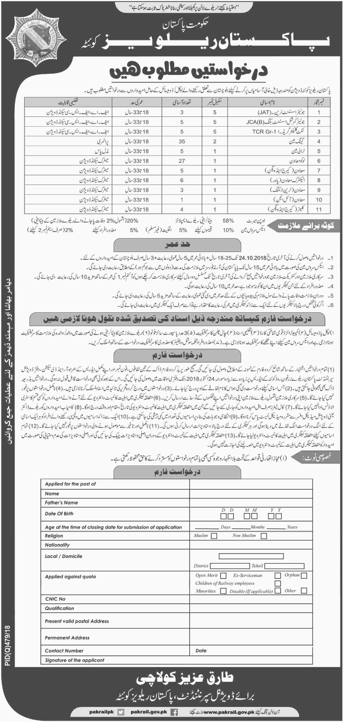 Pakistan Railways Quetta Balochistan Latest Jobs 4 October 2018