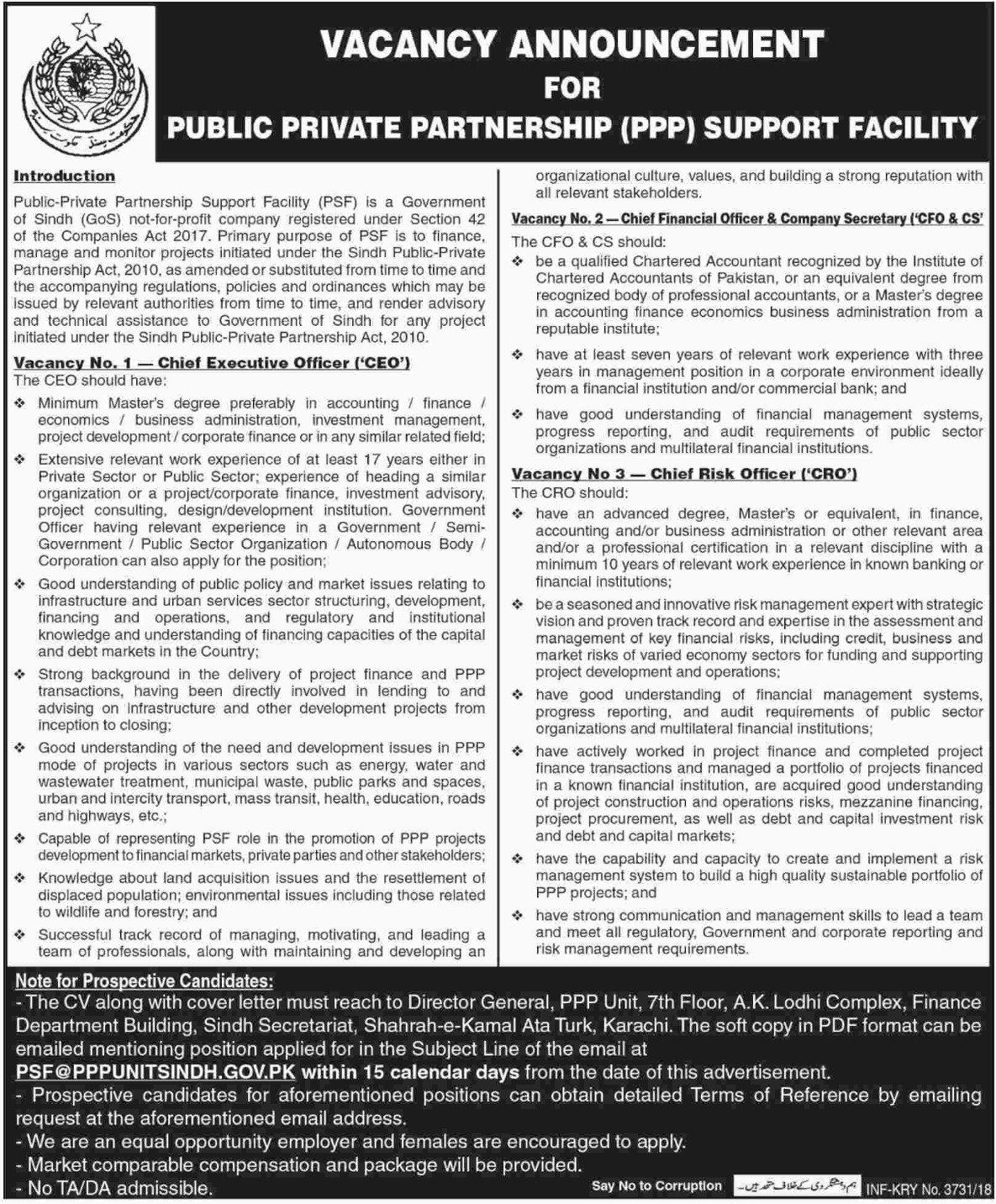 Public Private Partnership PPP Sindh Jobs 2018