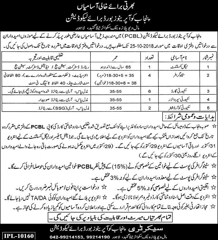 Punjab Cooperatives Board for Liquidation Lahore Latest Jobs 2018