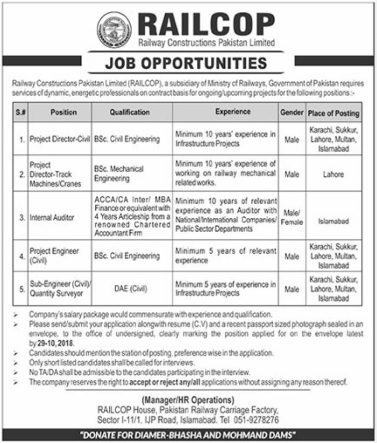 RAILCOP Latest Pakistan Jobs 13 October 2018