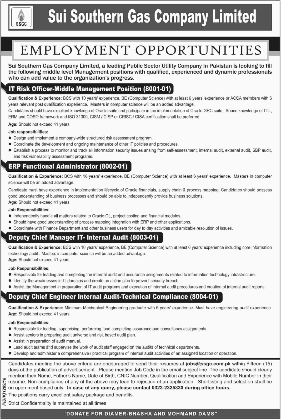 SNGPL Latest Jobs 7 October 2018