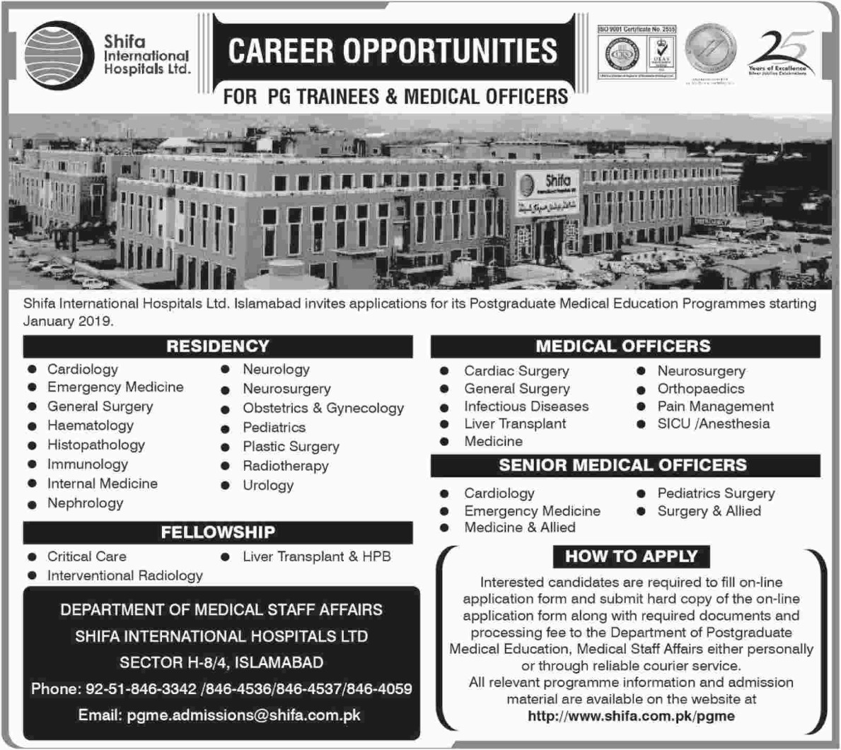 Shifa International Hospitals Ltd Jobs 2018