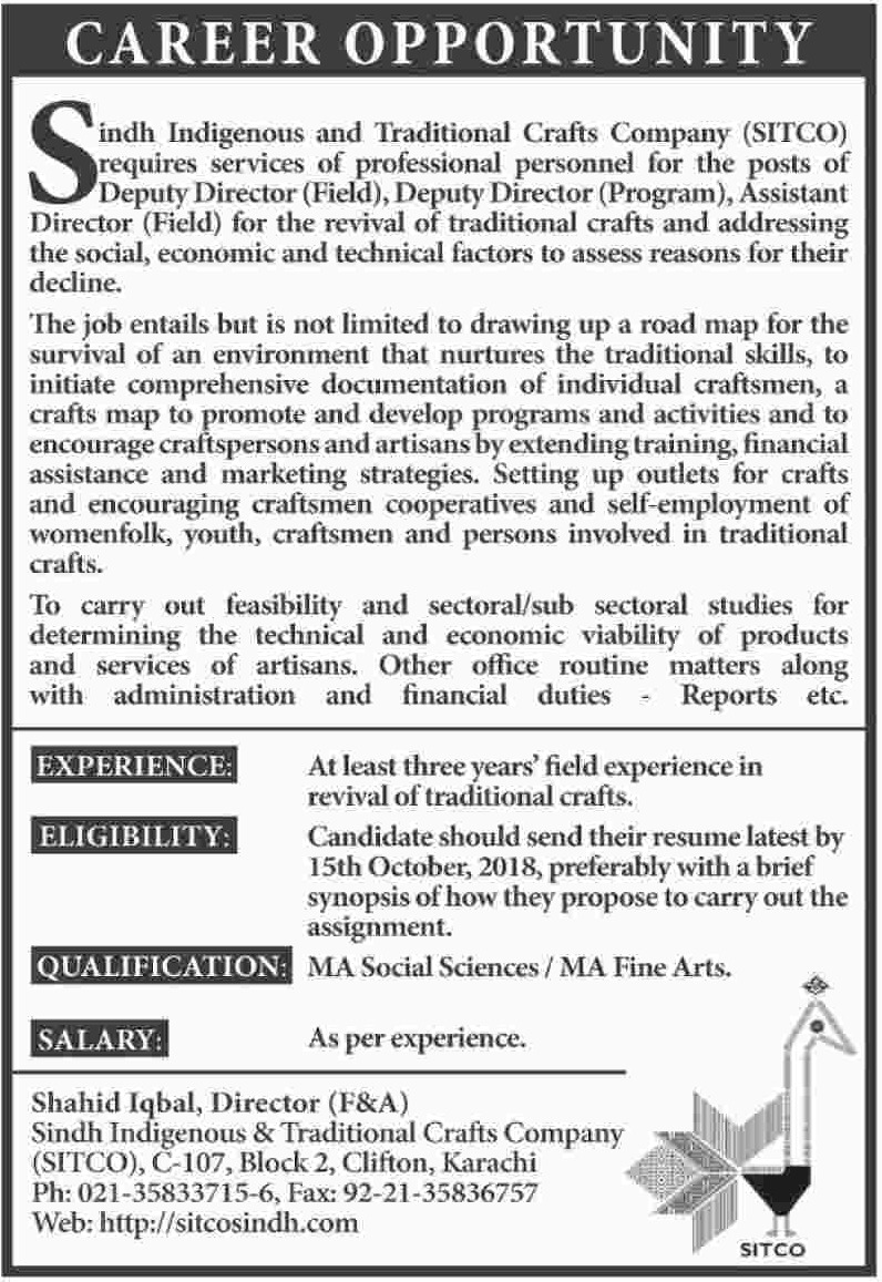 Sindh Indigenous and Traditional Crafts Company SITCO Jobs 2018