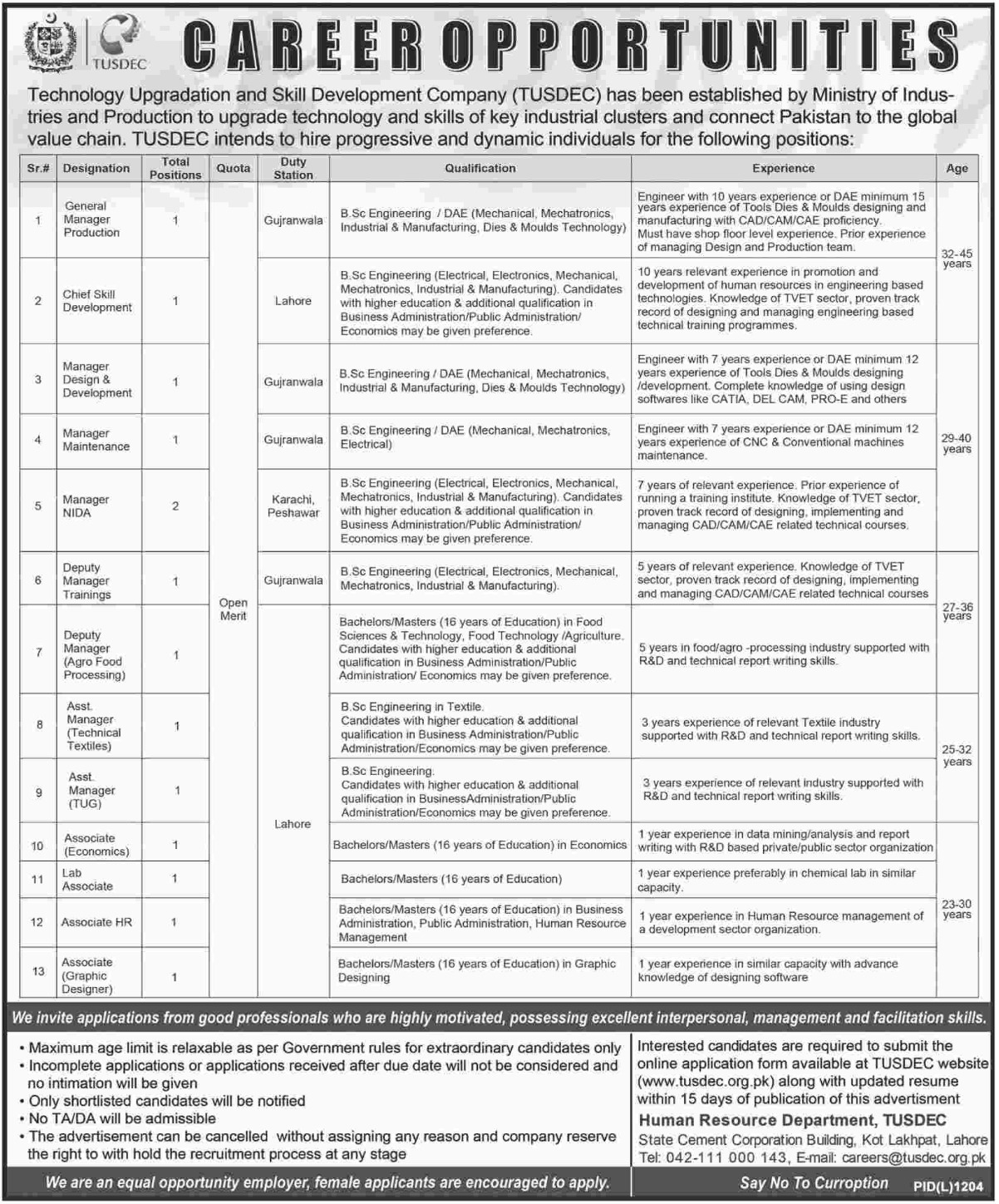 TUSDEC Ministry of Industries & Production Latest Jobs 2018