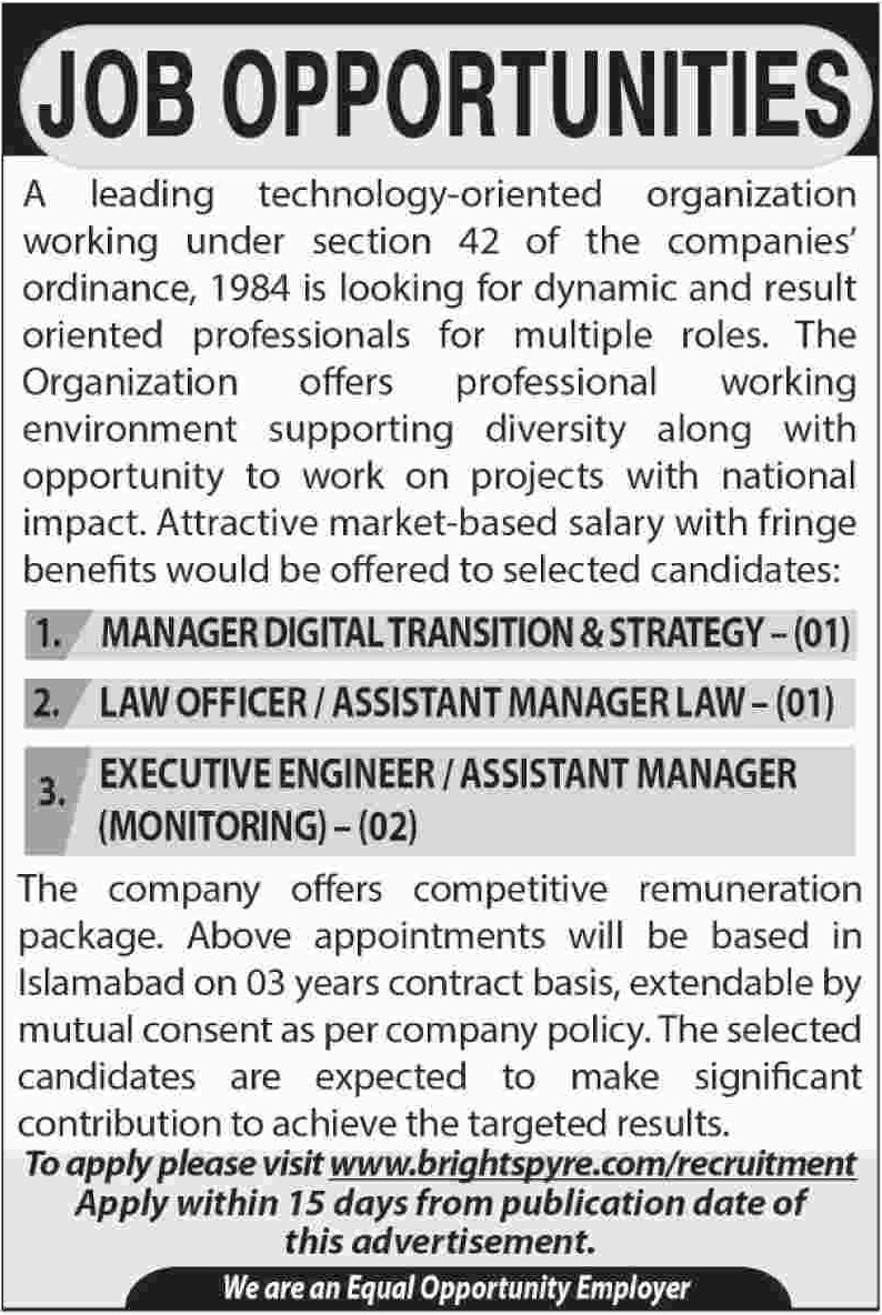 Technology Oriented Organization Brightspyre Jobs 2018