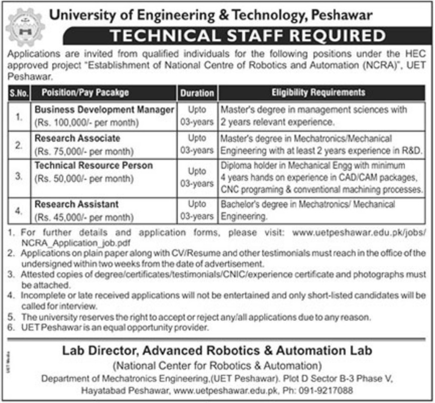 UET Peshawar Latest Jobs 10 October 2018