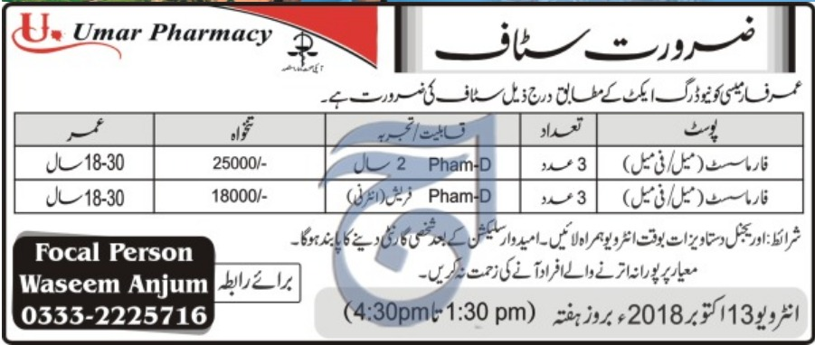 Umar Pharmacy Peshawar Latest Pharmacist Jobs 2018