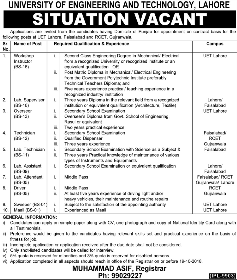 UET Lahore Latest Jobs 7 October 2018