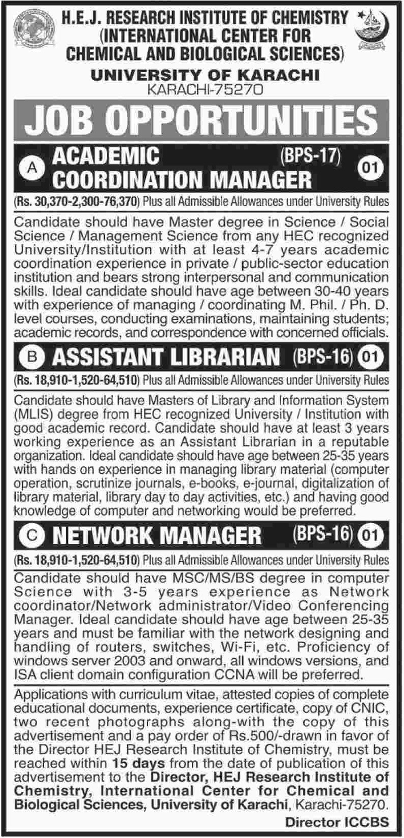 University of Karachi Jobs 23 October 2018