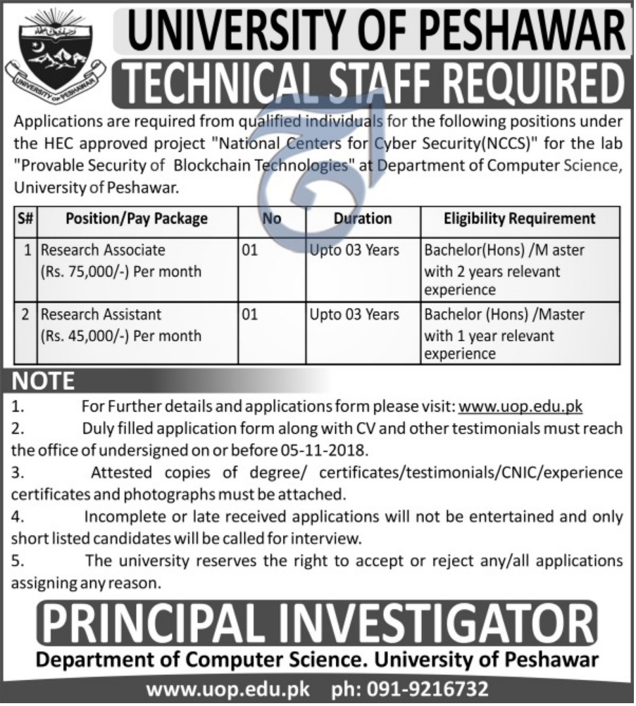 University of Peshawar Jobs 22 October 2018