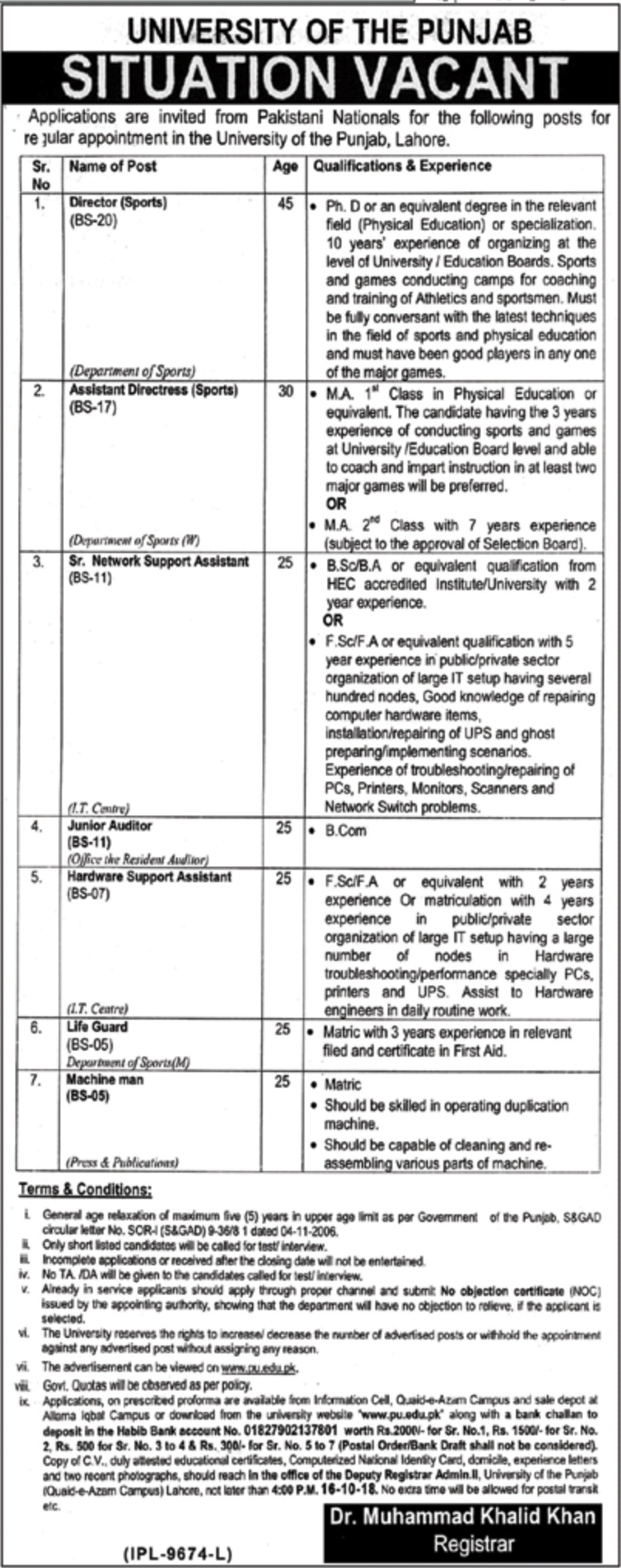 University of the Punjab PU Lahore Jobs 1 October 2018