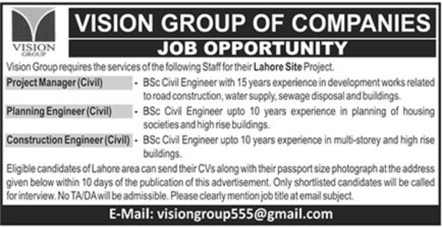 Vision Group of Companies Jobs Latest 2018