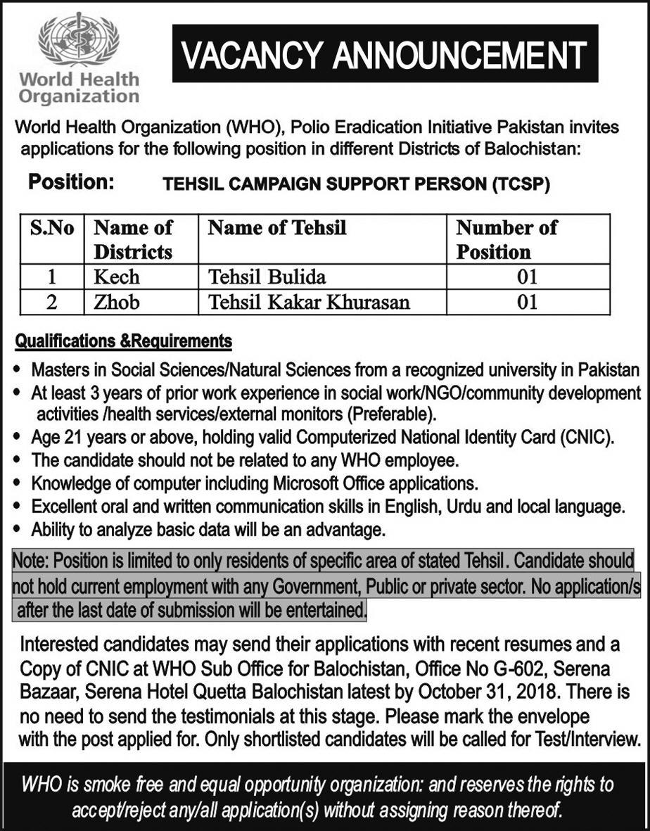 WHO World Health Organization Balochistan Jobs 2018