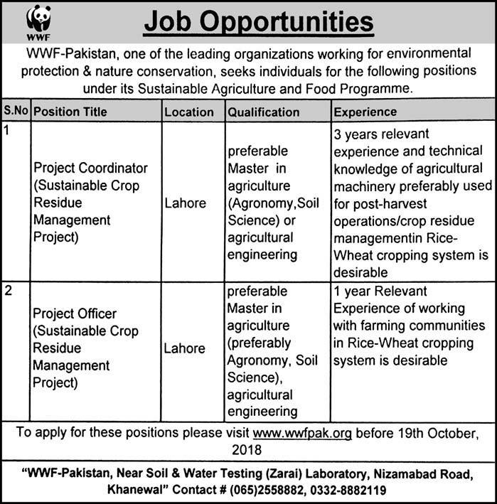 WWF Pakistan Latest Jobs 14 October 2018