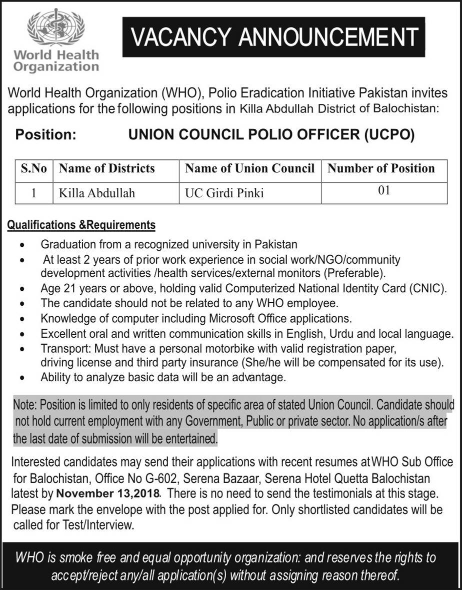 World Health Organization Balochistan Jobs Latest 2018