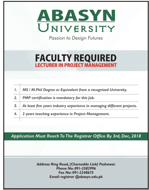Abasyn University Peshawar Jobs 2018