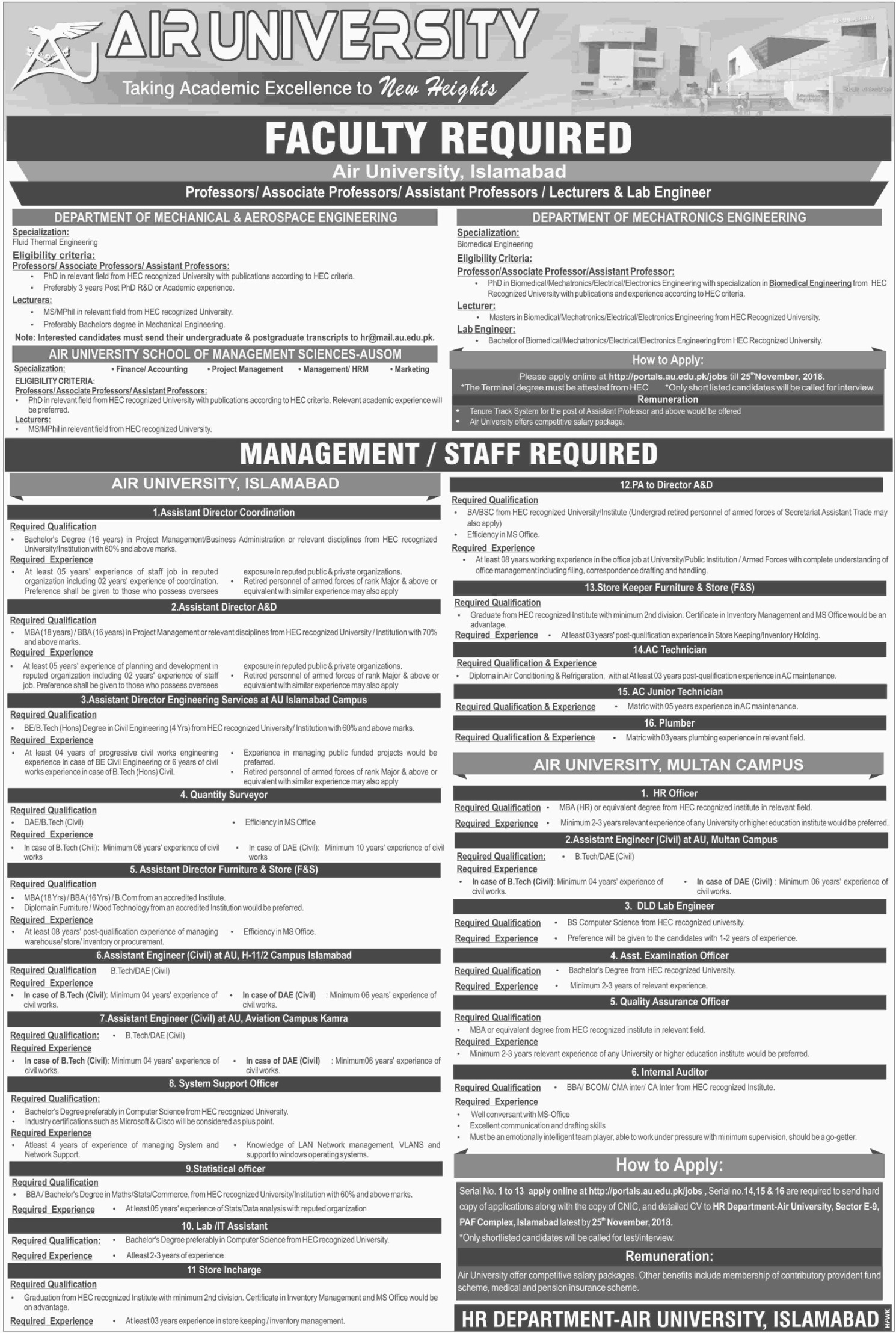 Air University Islamabad Jobs Latest 2018