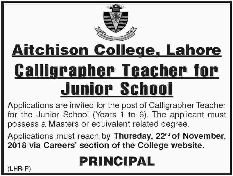 Aitchison College Lahore Jobs Latest 2018