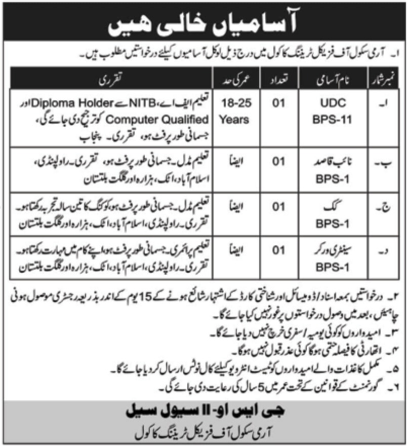 Army School of Physical Training Kakol Jobs 2018