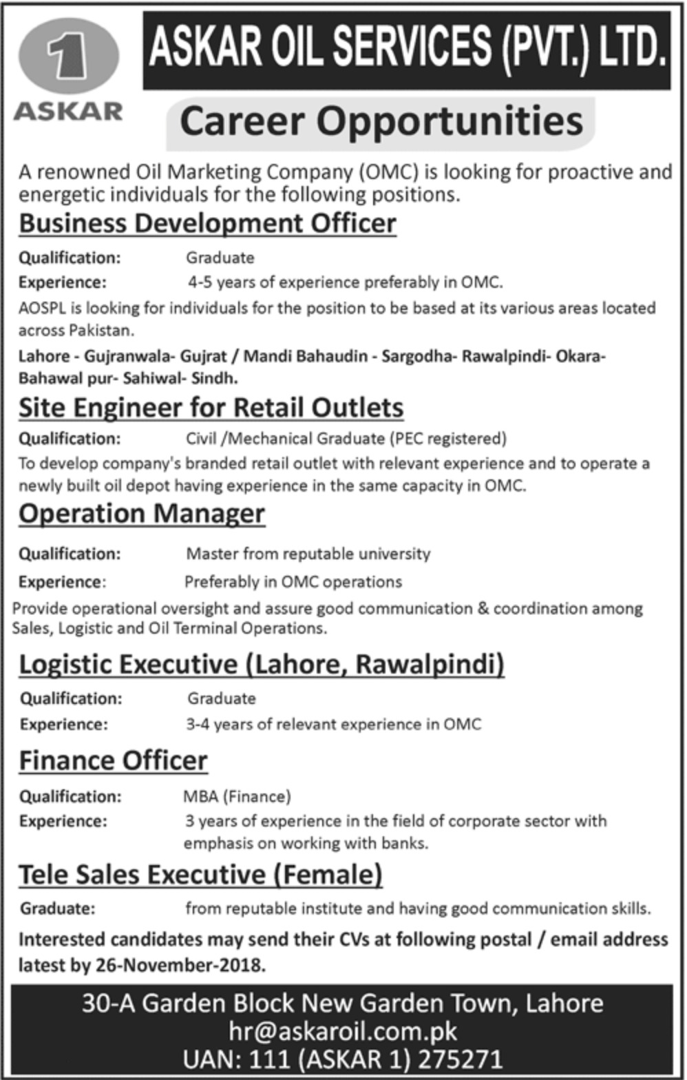 Askar Oil Services Pvt Ltd Jobs 2018