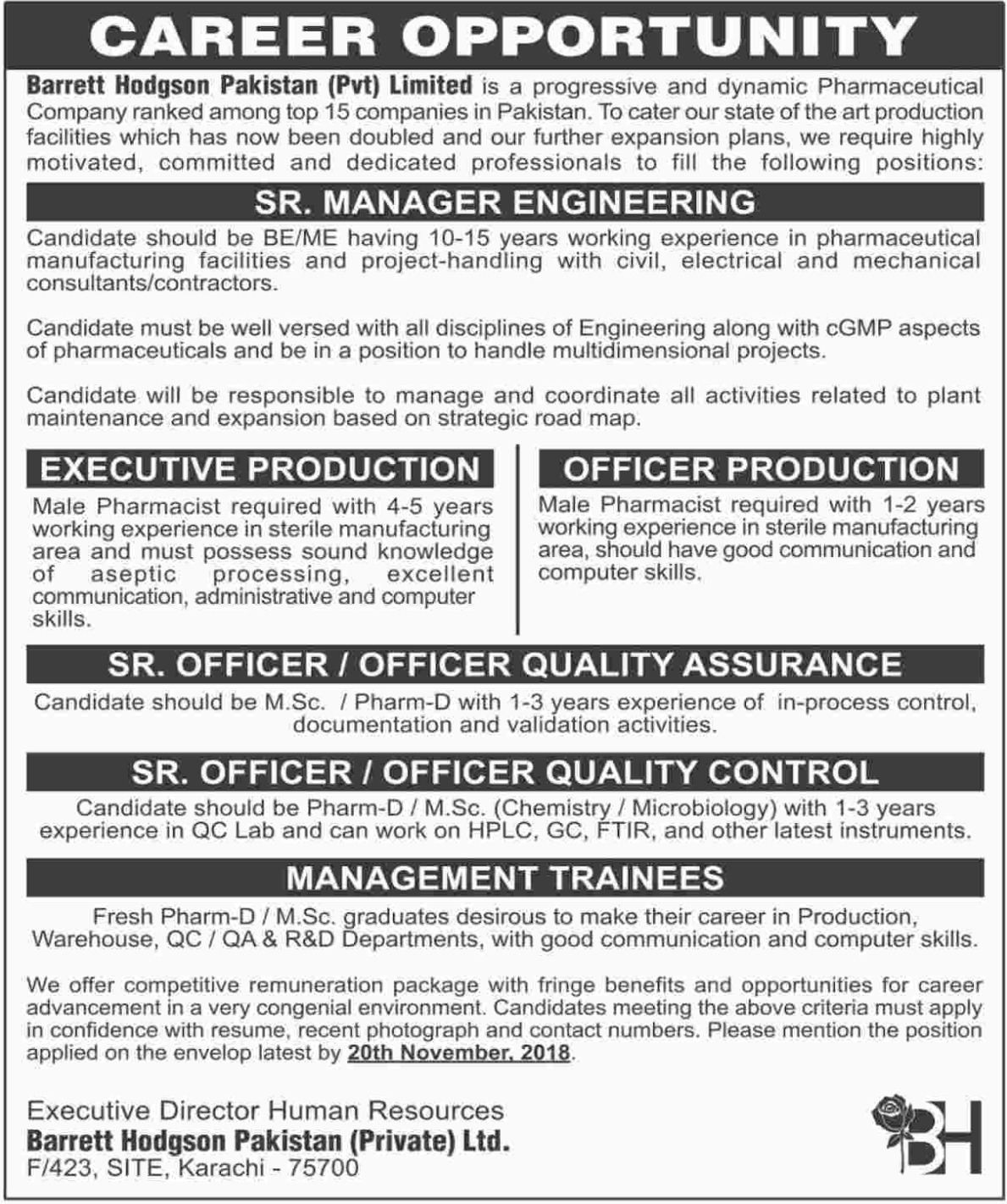 Barrett Hodgson Pakistan Pvt Ltd Jobs Latest 2018