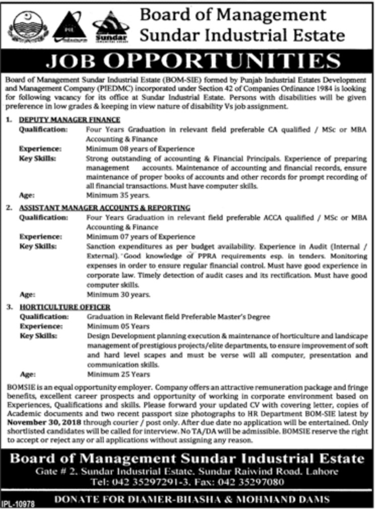 Board of Management Sundar Industrial Estate Jobs 2018