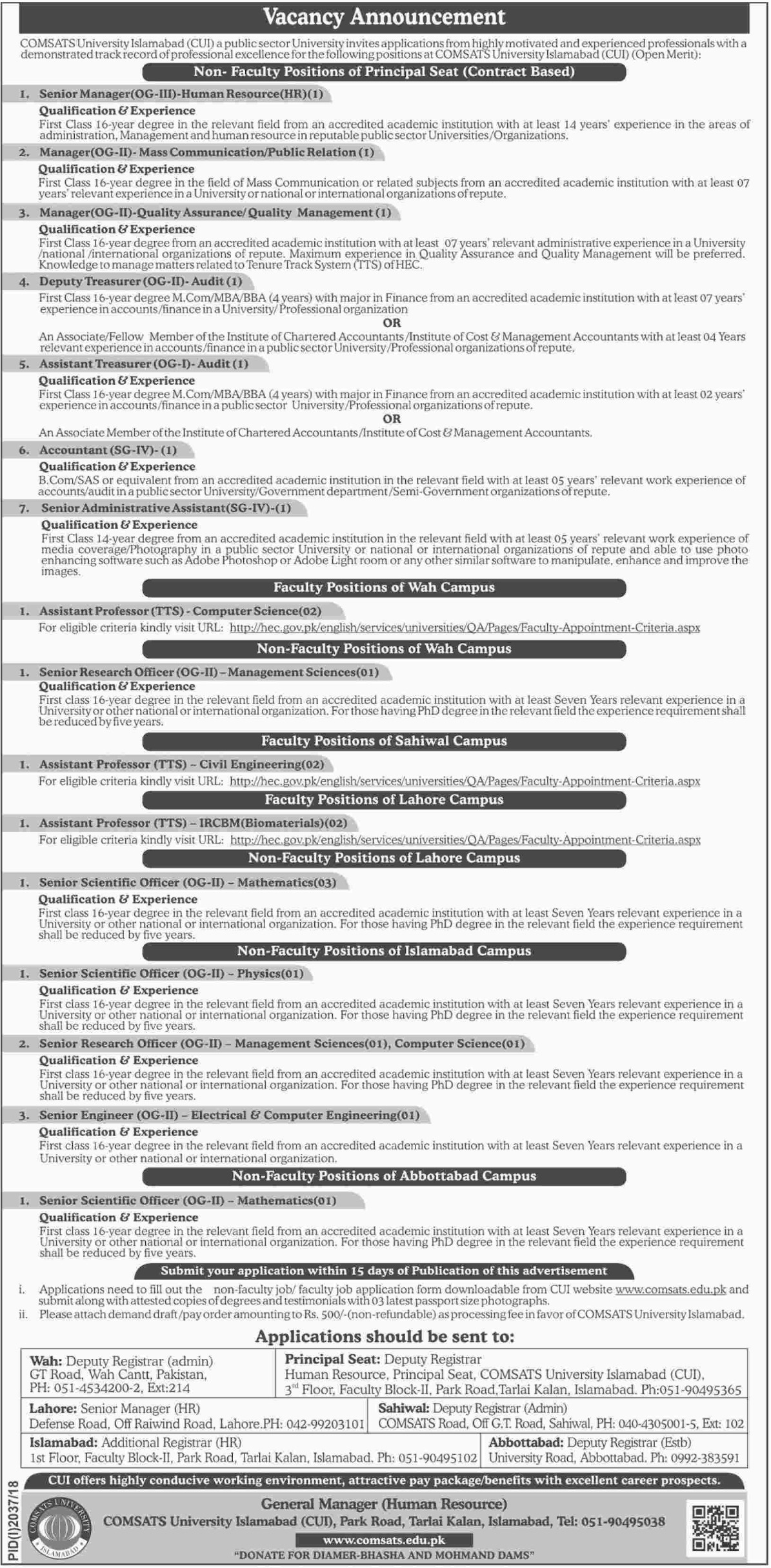 COMSATS University Islamabad Jobs Latest 2018