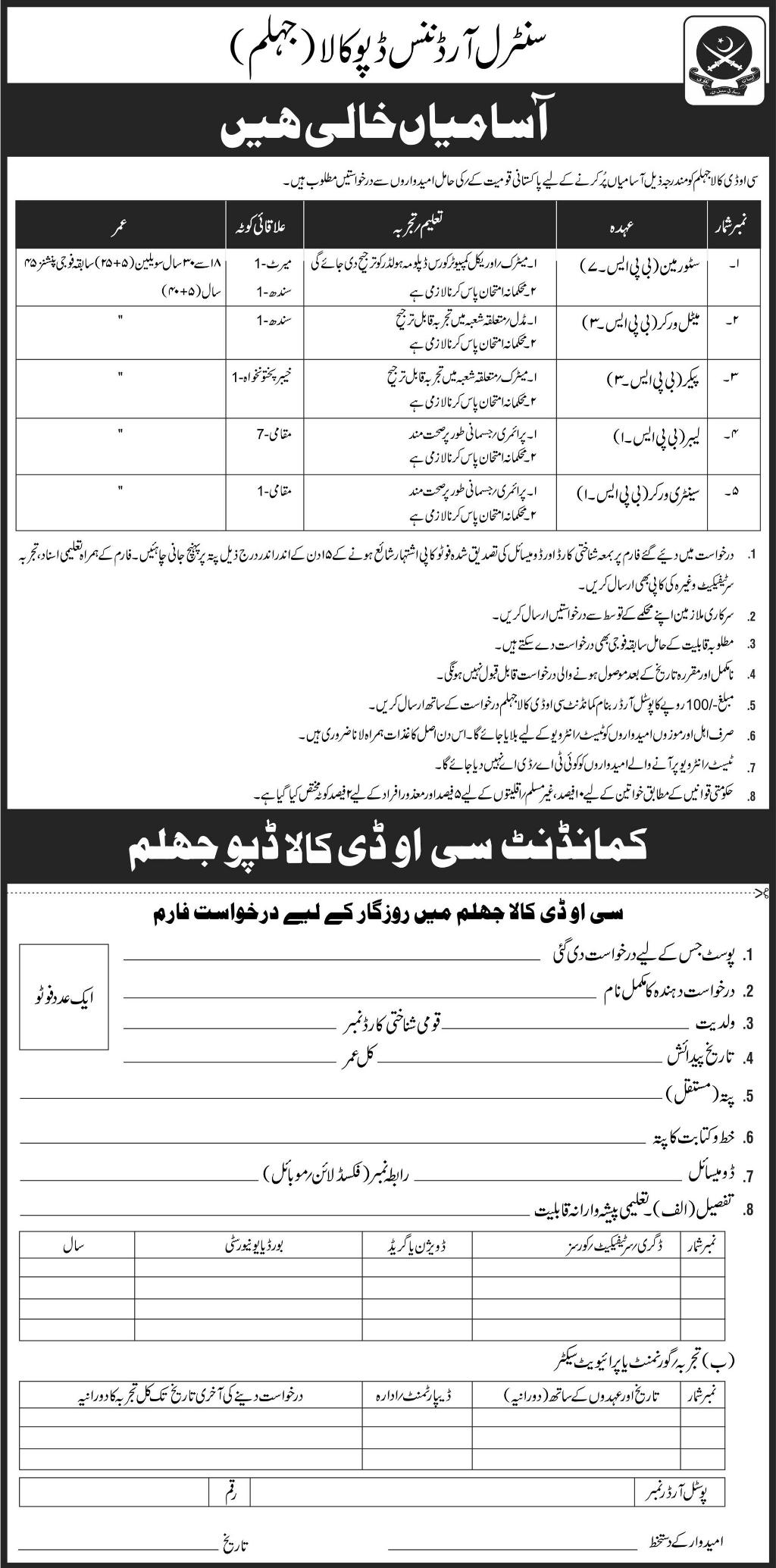 Central Ordnance Depot Kala Jhelum Jobs Latest 2018