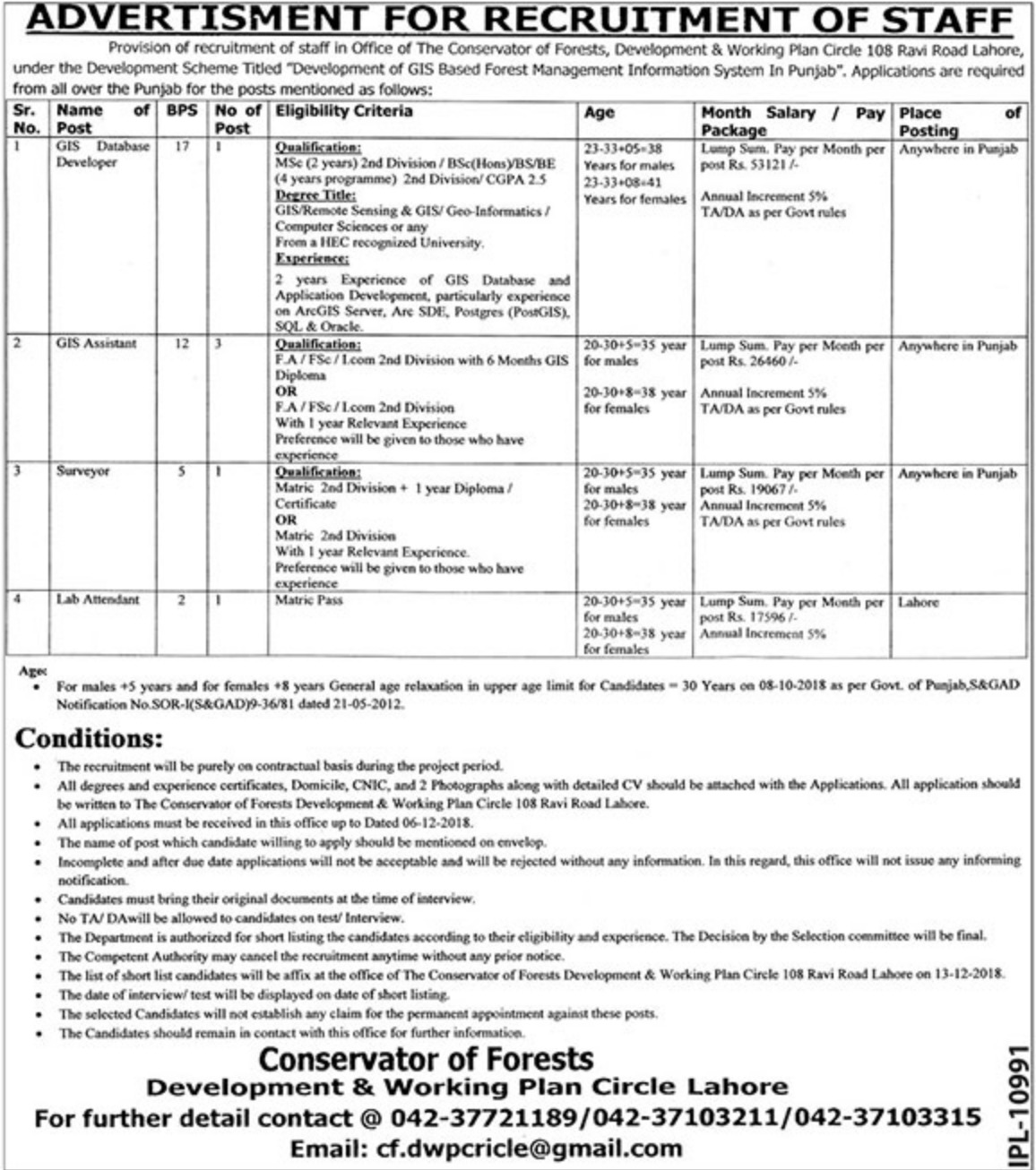 Conservator of Forests Lahore Jobs Latest 2018