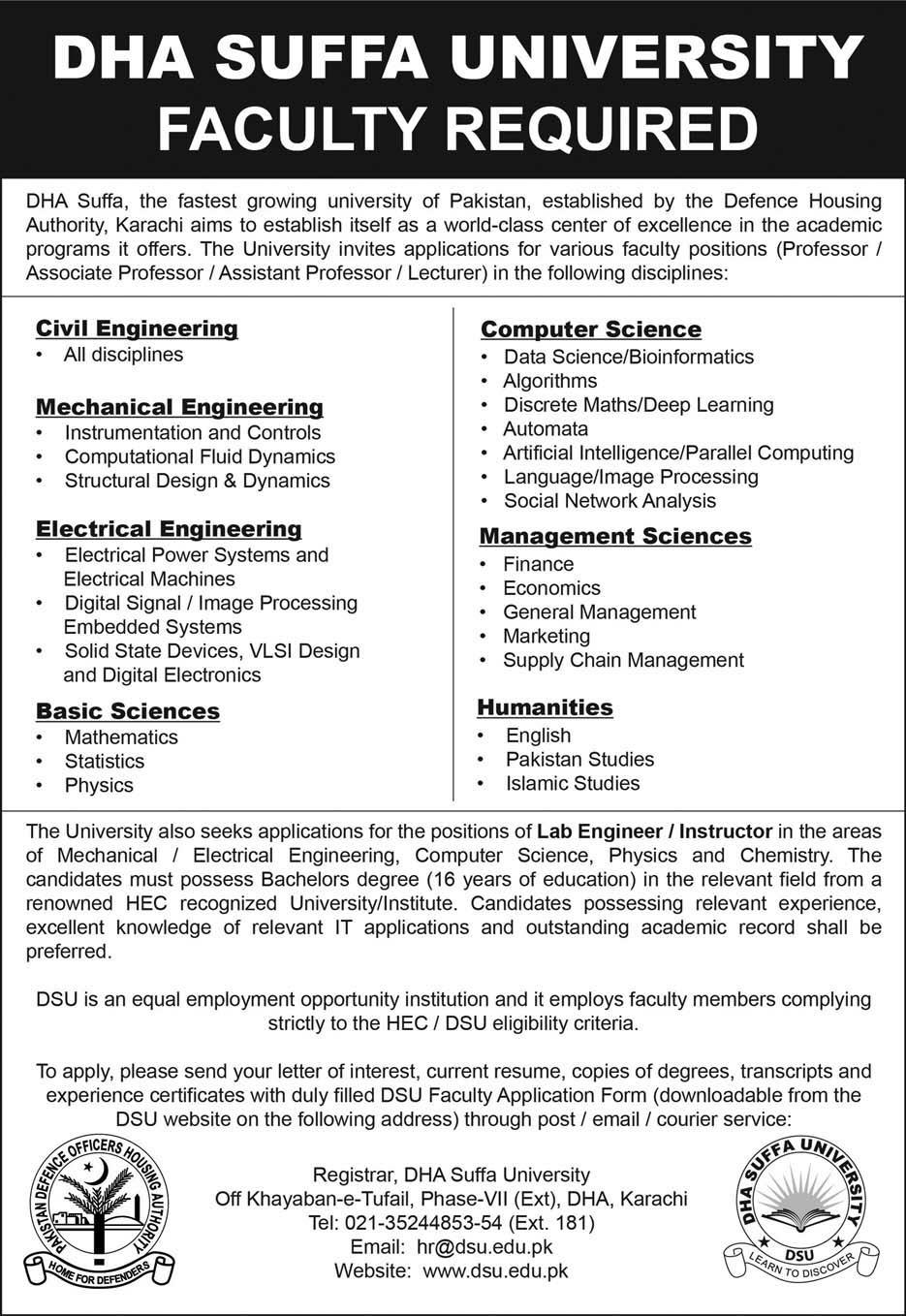 DHA Suffa University Karachi Jobs Latest 2018