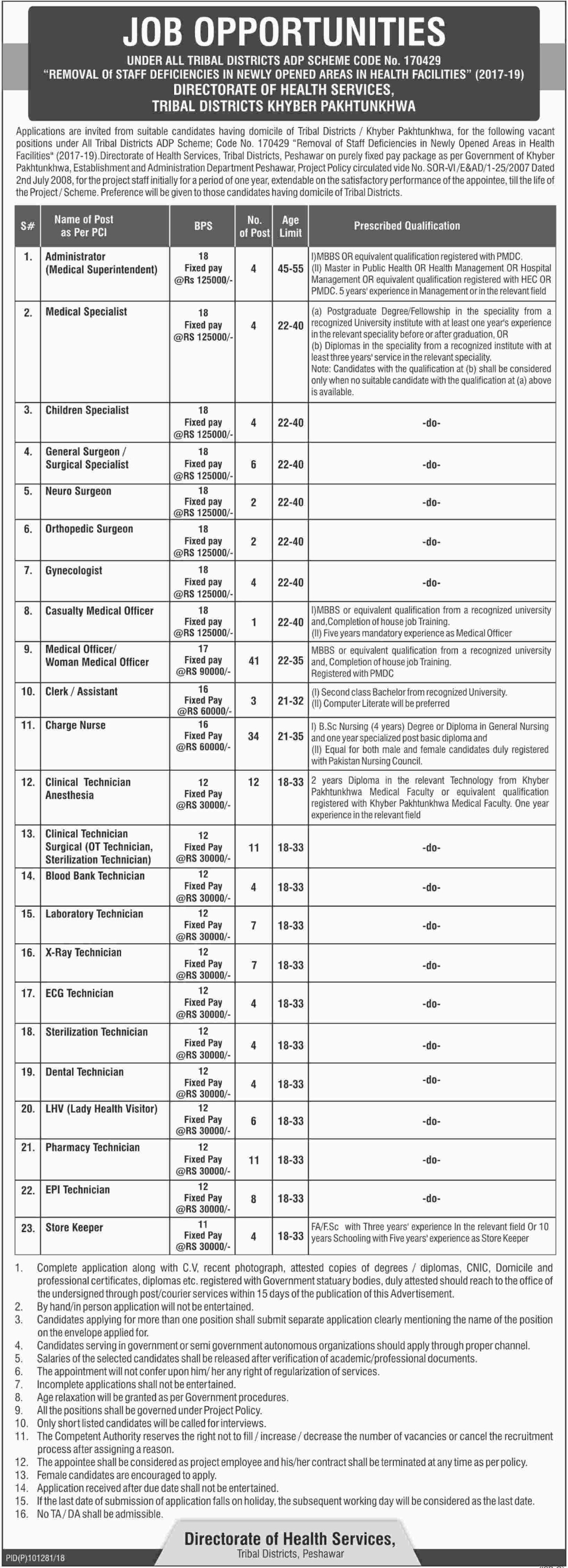 Directorate of Health Services Peshawar Jobs Latest 2018
