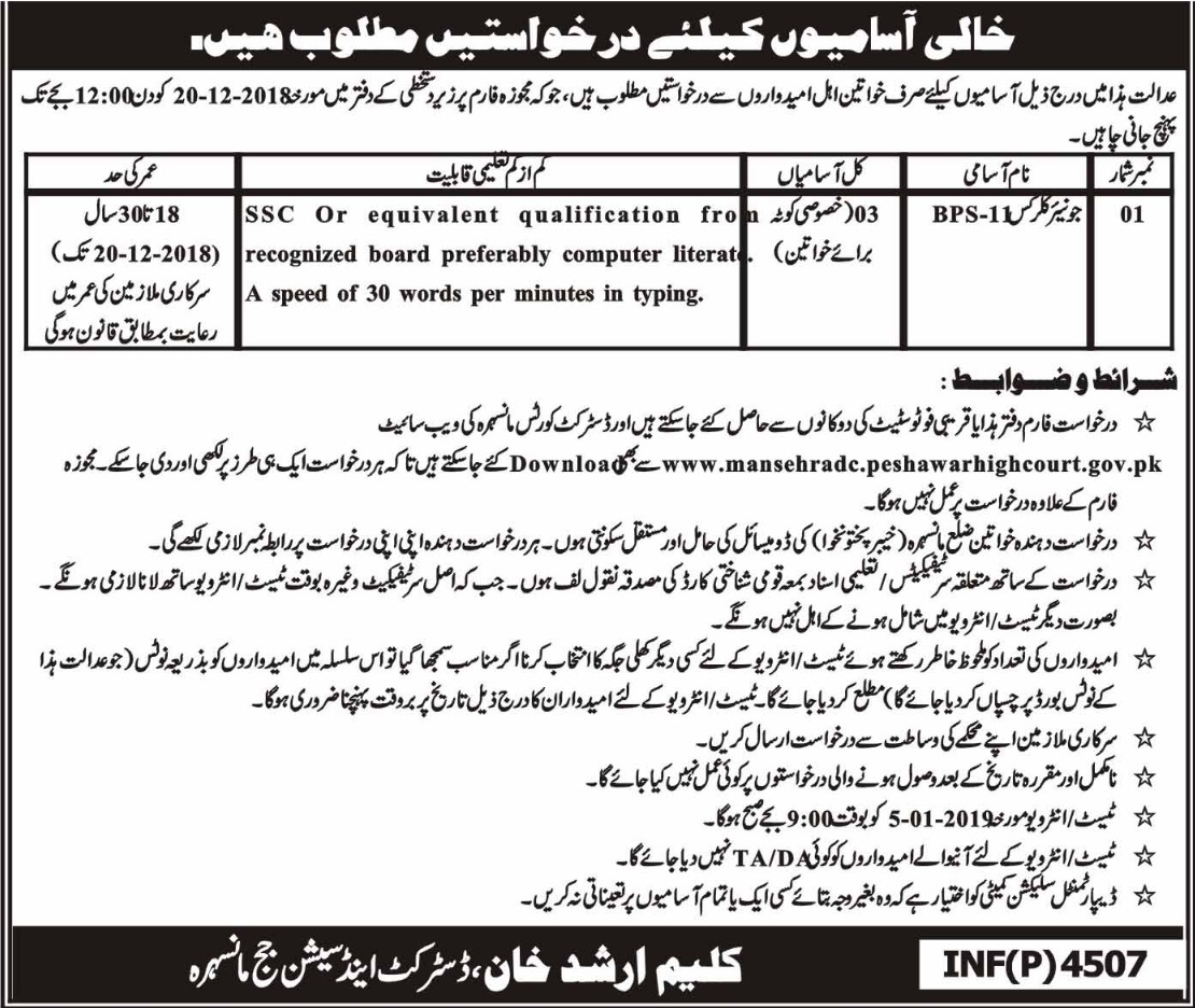 District & Session Court Mansehra Jobs 2018