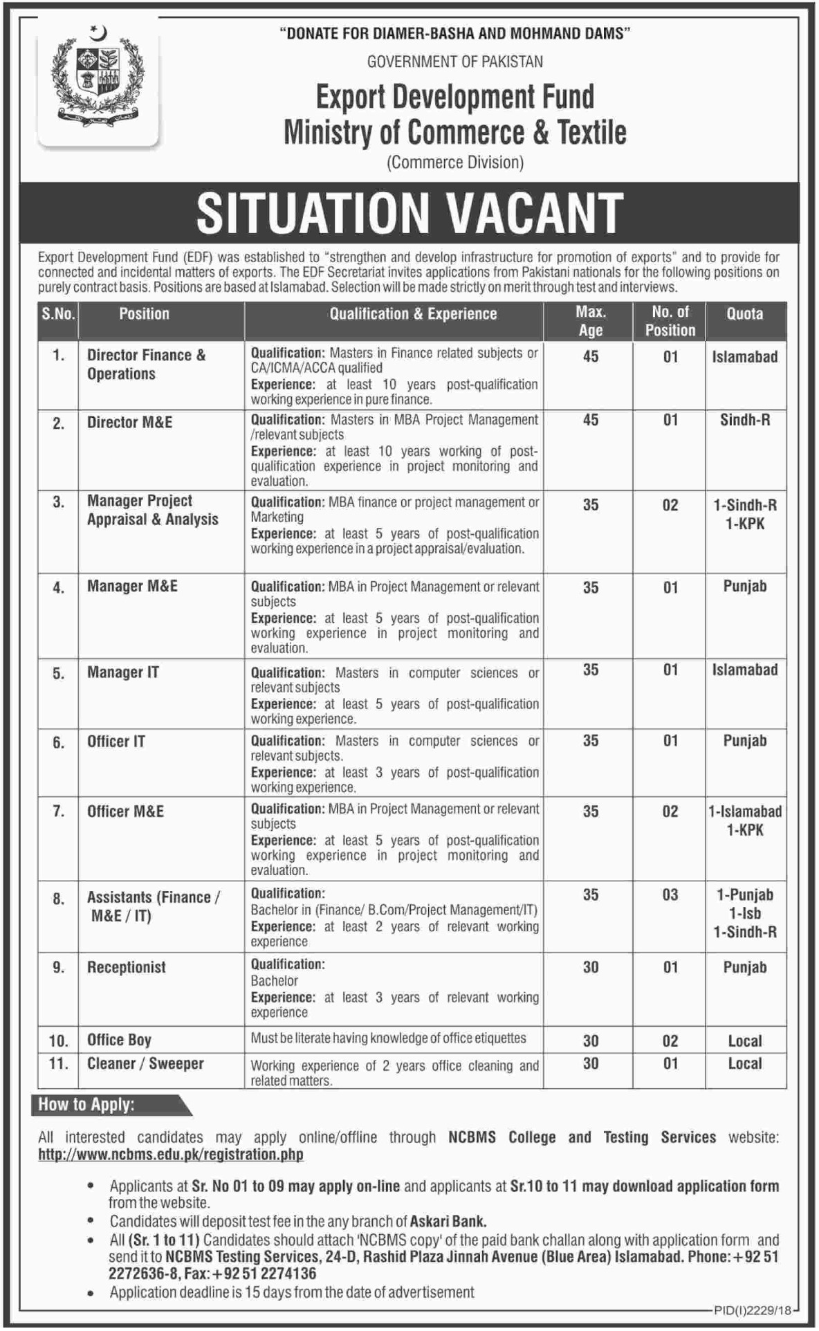 Export Development Fund Islamabad Jobs 2018