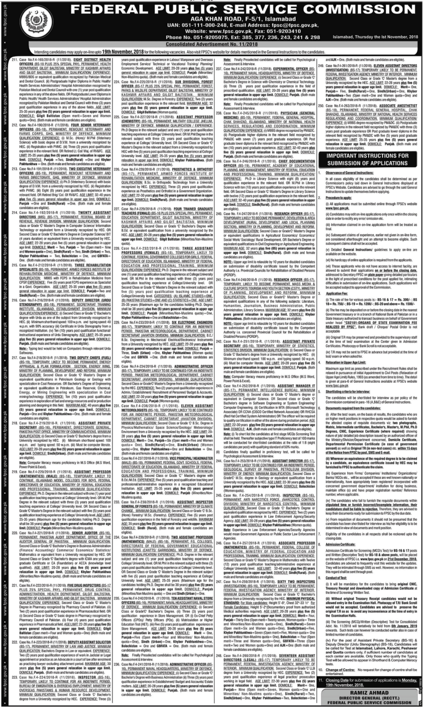 FPSC Jobs Latest November 2018