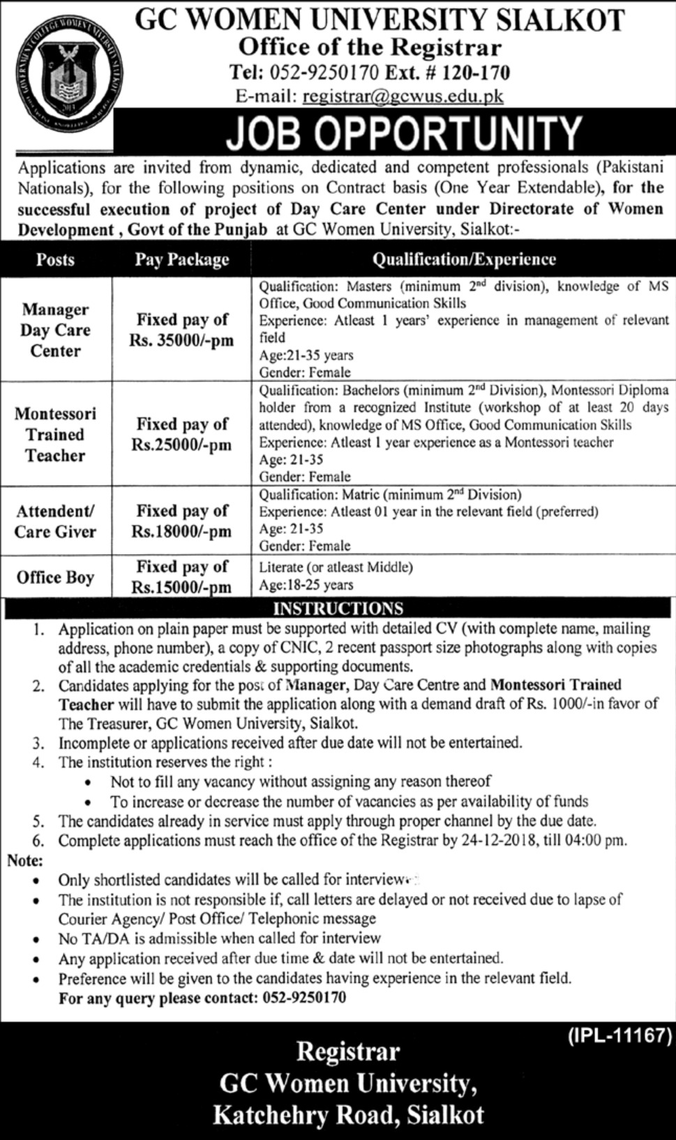 GC Women University Sialkot Jobs 2018